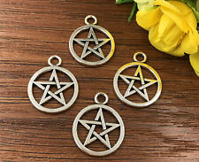4pcs Pentagram Tibetan Silver Bead charms Pendants DIY jewelry 25x20mm J142