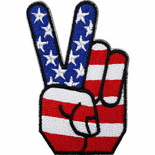 USA Flag Peace Sign Embroidered Iron / Sew On Patch United States American Badge