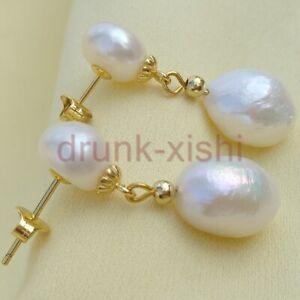 HUGE GENUINE AAAA South Sea White Baroque Pearl Earrings 14K YELLOW GOLD