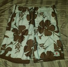Tony Hawk Hawaiian style swim board shorts men's size M floral print.