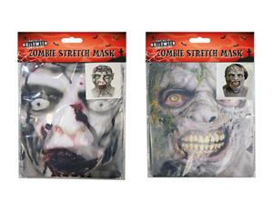 1 Halloween Stretchy Zombie Face Mask Stretch Masks Costume Fancy Dress Up Kids