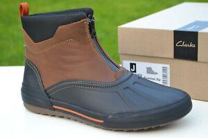 Clarks BNIB Mens Duck Boots BOWMAN ZIP Dark Tan Leather UK 8 / 42