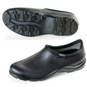 Outdoor Slip-On Mens Black Leather-Like Finish Sloggers Waterproof Garden Shoes