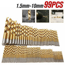 99PCS Titanium Coated HSS High Speed Steel Drill Bit Set Tool 1.5mm - 10mm
