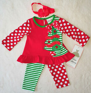 Roter Rock 3 PCS Weihnachten Baby M/ädchen Outfits Langarm Rundhals Brief Druck Erste Weihnachten Wei/ß Strampler Pailletten Schleife Stirnband Kleinkind Kleidung