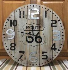 Route 66 Clock Country Vintage Style Gas Oil Pump Garage Wall Road Art Wood