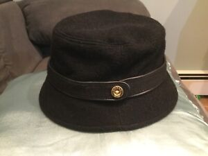 COACH BLACK WOOL BLEND BUCKET CLOCHE HAT  M/L BLACK LEATHER TRIM NEW WITH TAGS