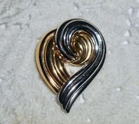 Vintage Monet Signed Two-Toned Heart Brooch Pin Gold-tone & Silver-Tone