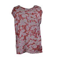 Gap Women's Floral Stripe Cap-Sleeve Top Red Large Career Work Blouse