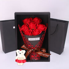 Merry Christmas romantic Rose Bear Bouquet Soap Flowers Wedding Party Decoration