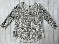 Lucky Brand Women's XL Blue Floral Print Flowy Blouse Shirt Top Boho 2/3 Sleeve