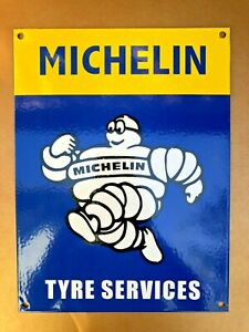 "VINTAGE MICHELIN MAN TYRE SERVICES 9 x12""  PORCELAIN ENAMEL SIGN, GAS PUMP AD"