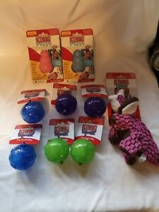 2 x KONG Squeezz Dog Puppy Squeaky Rubber Fetch Fun Ball Toy Med Or Dynos