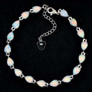 Vikoly White Drop shape 925 Sterling Sliver Fire Opal Bracelet 18cm