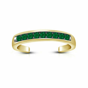 14k Yellow Gold Finish Green CZ Open Back Channel Set Adjustable Toe Ring
