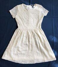 Forever 21 Ivory Lace Short Sleeve Dress Sz S LKNW
