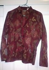 NWT CHICO'S Maroon Floral Loop Button Cotton/Poly Ladies Blazer Jacket Womans 2