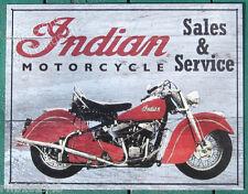 "Indian Motorcycle ""Wooden blue"" metal TIN SIGN vtg garage bar wall decor ad 1931"