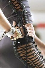 DOLCE&GABBANA Runway 40 IT (S-M) laced dress black leather+silk