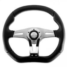 Momo Steering Wheel Trek-R 350mm Black Leather with chrome - flat bottom