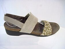 MUNRO taupe beige leather canvas slingback sandals comfort shoes size. 8 1/2 SS