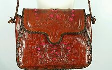 Tooled Leather Shoulder Bag Purse Tote Brown Cross Body Floral Inlay Unbranded