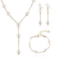 Imitation Pearl Necklace Earring Bracelet Jewelry Set Simple Choker Women GiftEO