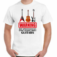 Guitar T-Shirt Warning May Spontaneously Start Talking About Guitars Mens Funny