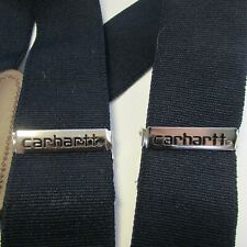 """Carhartt 2"""" Wide Utility Metal Clip On Logo Suspenders Leather Patch Adjustable"""