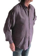 "100% SETA Uomo T-Shirt manica lunga - 44"" torace UK miura XS Una tasca VIOLA"