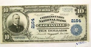 1902 $10 National Currency Citizens Union National Bank of Louisville Crisp Unc