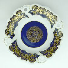 Weimar Porcelain Bowl German Democratic Republic Germany Cobalt Gold Echt Kobalt