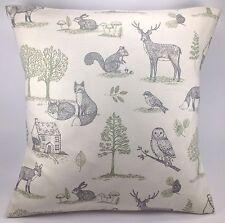 "Clarke and Clarke Woodland Natural Tree Fox Rabbit Owl 16"" cushion  Cover"
