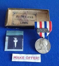 FRENCH HONOUR MEDAL OF RAILROADS 30 YEARS SERVICE WITH RIBBON & BACK PINS