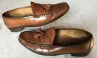 Giorgio Brutini Men's 12 D Loafers Dress Shoes Tassel Weave Brown Leather Soles