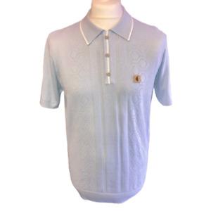 Gabicci Vintage V46GM05 Bronson Ice Knitted Polo Shirt ,Mod,60s,70s,SALE