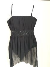 GEORGE COLLECTION size 10 black strappy bodice party top ladies back zip