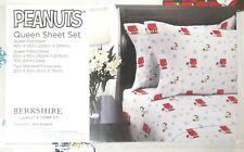Berkshire Peanuts 4 Piece Queen Sheet Set Pillowcase Snoopy Woodstock Xmas