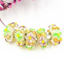 5pcs MURANO Lampwork charm Beads fit 925 silver European Bracelet Chain a1104