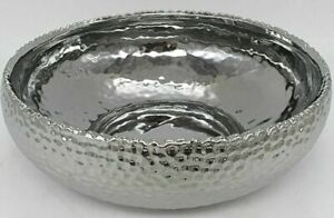 25cm  ROUND SILVER HAMMERED BOWL>FRUIT OR POT POURRI
