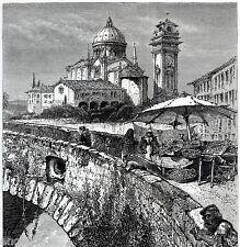 VERONA: SUL PONTE PIETRA,sull'Adige. Costumi.Mestieri.Veneto. Stampa Antica.1878