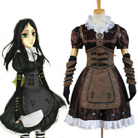 Alice Madness Returns Cosplay Costume Stream Maid Dress+Necklace Apron Suit