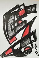 SEVARD Abstrakte Komposition Gemälde Zeichnung A4 Original Signiert Unikat N501