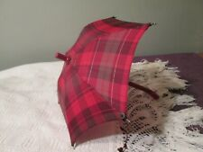 """Vintage Checkered Red DOLL's Bear's UMBRELLA 12"""" Wood ? handle"""