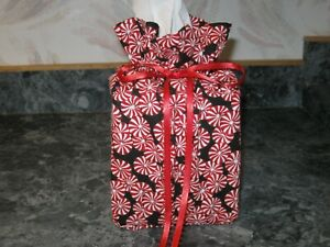 Christmas Peppermints Mints black Cotton Fabric Handmade square Tissue Box Cover