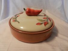 Clay Art Serrano Tortilla or Casserole Serving Bowl & Lid Hand Painted StoneLite