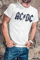 AC/DC Men White T-shirt ACDC Rock Band Fan Tee Shirt AC DC