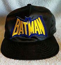 VTG DC Comics Batman Patch Snap Back Hat Black w/ Blue/Yellow Patch USA Made FS!
