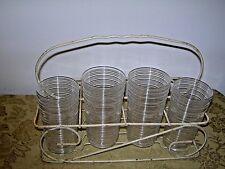4 Reeded, Whirlpool, Spun Crystal 9 oz Tumblers & Vtg Holder Imperial Glass