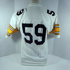 Vintage Pittsburgh Steelers #59 Replica White Jersey L Sand Knit